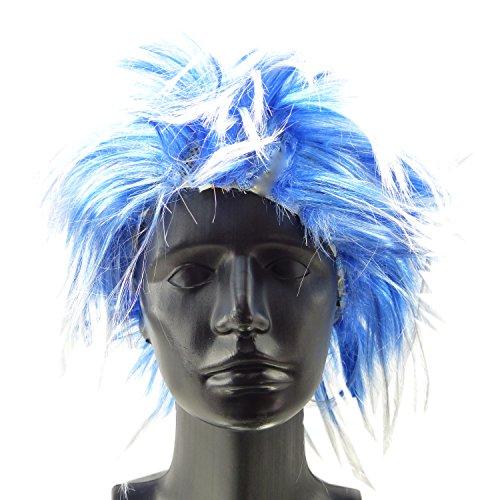 Perücke Punk Fasching Frisur 4377 Karneval Neon Haar Peruecken (Blau Neon Perücke)