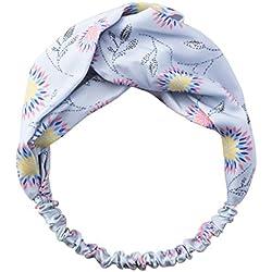Banda Para el Cabello Elástico Retro Turbantes Trenzados Para ujer Diadema Boho Floral Cross Foral Head Wrap Hair Band (azul)