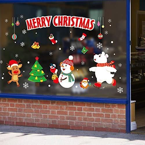 Wandaufkleber Santa Fensterdekoration Schaufenster Glastüraufkleber selbstklebende nahtlose Tapete X 45cm*60cm -