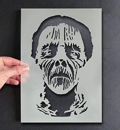 Zombie Monster Gesicht Schablone Halloween Dekor & Basteln Schablone Farbe & Gestalte Zeichen,Wände, Stoffe, Möbel Wiederverwendbar ... - 50x80cm (Halloween Zeichen 80 Für)