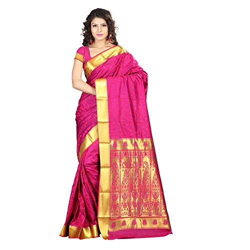 Varkala Silk Sarees Women's Art Silk Kanchipuram Saree With Blouse Piece(JP8110RNV_Pink_Free Size)