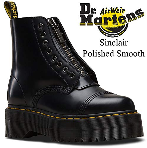 Dr. Martens Women's Quad Retro Sinclair Polished Smooth Leather Boot Black Size 8