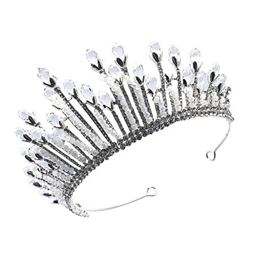 Baoblaze Glänzende Kristall Prinzessin Krone Haarkrone Haarreifen Tiara Kopfschmuck, Barock Design,...