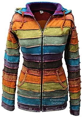 Shopoholic Fashion Women Acidwashed Rainbow Hippy Hoodie Jacket