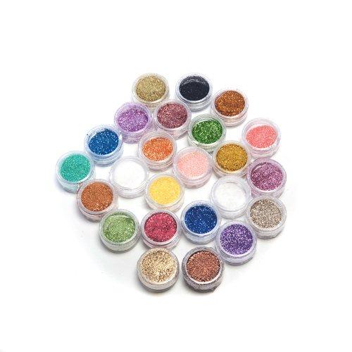 Kurtzy TM 24 Vasetti Glitter Metallici in Polvere Acrilica per Nail Art Decorazione