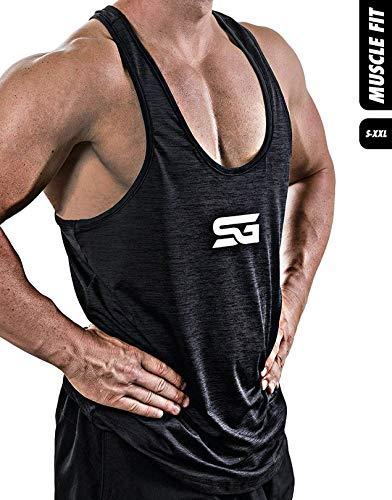 Satire Gym Fitness Stringer Herren - Funktionelle Sport Bekleidung - Geeignet Für Workout, Training - Tank Top (schwarz meliert - weißer Print, XXL)