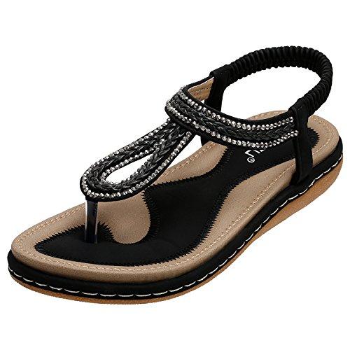 Strass Flache Sandalen (SANMIO Damen Sandalen, Frauen Flach Zehentrenner Bohemian Strass Sandaletten Sommer PU Leder Sandals- Gr. 39 EU (Etikettgröße: 40), Schwarz-b)