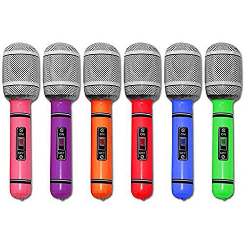 (DDG EDMMS 6Pcs 25cm Aufblasbare Mikrofon Universal-Blow Up Mikrofon für Gesang Party-Zeit-Rock-Baby-aufblasbares Spielzeug)