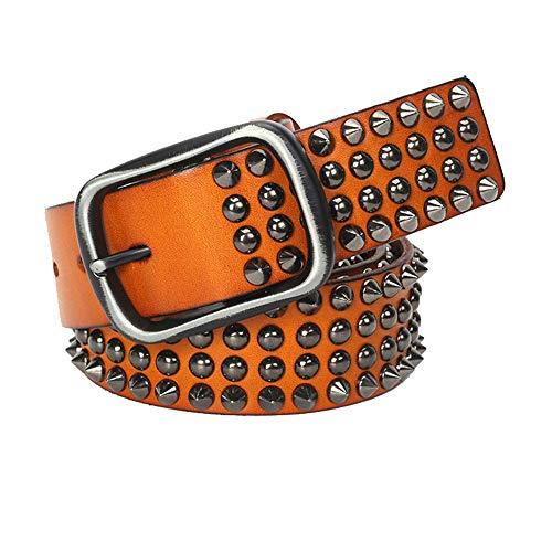 Yishelle-Belt Cinturón de Cuero Tachonado Cinturón de Cuero con Tachuelas Cinturón de Punk Cinturón de Cuero Genuino Cinturón de espárrago Unisex 47,2 Pulgadas Casual Cowboy Belts para Jeans