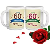 TIED RIBBONS 60th Marriage for Parents Father Mother Grand Father Grand Mother Collegue Relatives Set of 2 Printed Coffee Mugs with Rose(325ml Each,Multicolor)