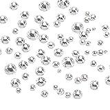 1440 Stücke Strasssteine, FJSM Glas Strasssteine 1.3mm-6.6mm Kristall Steinchen rund Dekor mit flacher Rückseite Glitzersteine Schmucksteine Basteln Malmaterialien Spielzeug zum Aufkleben für Karten Handwerk DIY