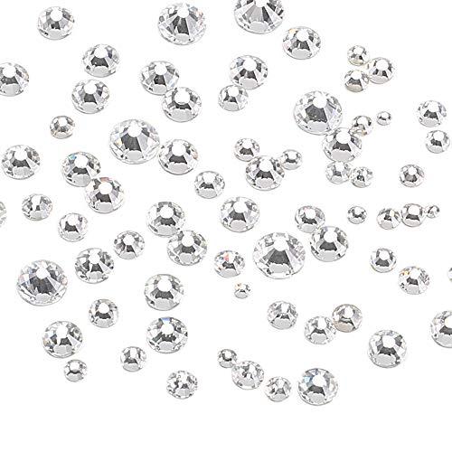 FOGAWA Glas Strasssteine Glitzersteine 1440 Stücke 1.3mm-6.6mm Kristall Steinchen Schmucksteine Rund mit flacher Rückseite für Malmaterialien Spielzeug Karten Handwerk Dekor DIY zum Basteln