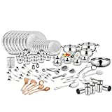 #2: Classic Essential 124 Pieces Stainless Steel Hammered Dinner Set- Ideal for Big family, Marriage Gifting. Complete serving solution in one go.