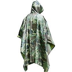 Regenponcho bei DigHealth, Wasserdicht Regenjacke Regenmantel mit Kapuze, Rip-Stop PVC Atmungsaktive Regenbekleidung, Outdoor Regenumhang für Die Jagd Camping Militär und Den Täglichen Gebrauch
