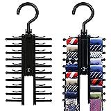 MINGZE 2 pezzi Gruccia portacravatte per 20 cravatte, Tie Rack Hanger, Cross Tie Hanger, Nero 20 Tie Belt Rack Organizer Hanger Clip non scivolose Rotazione a 360 gradi