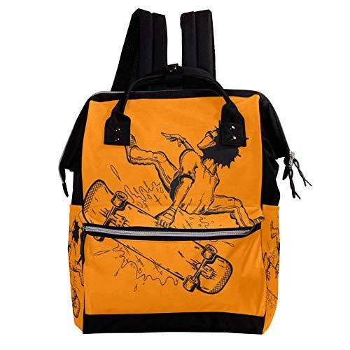 Lust auf Skateboard 1 Wickelrucksack Wickeltasche große Kapazität der Mehrfachtasche für Mutterschaftsbabywindeländerung Mama Multifunktionsreiserucksack,27x19.8x36.5cm -