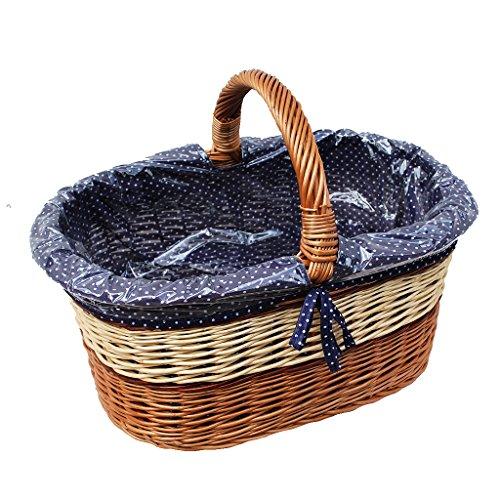 GalaDis 10-96-16 Großer Einkaufskorb aus Weide Geflochten mit Innenfutter (Blau), Weidenkorb Geschenkkorb Präsentkorb (50 x 35 x 25) (Große Weidenkorb Mit Griff)