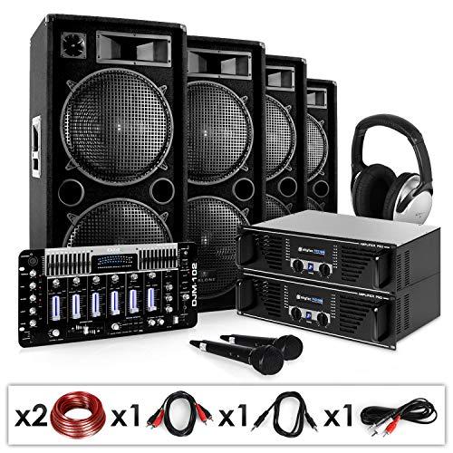 "DJ PA Set\""Bass First Pro\"" 2x Amp 4x Boxen Mixer 4x 500W"