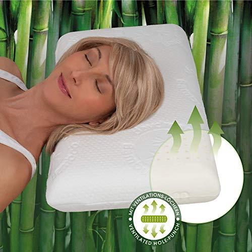 daydream Kopfkissen aus Natur-Latex mit Bambus-Bezug (P-12500) Kissen | Latex | Schlafkissen | Bettkissen | Nackenkissen | 60 x 40 x 10 cm | für Allergiker geeignet | sehr atmungsaktiv | Testsieger -