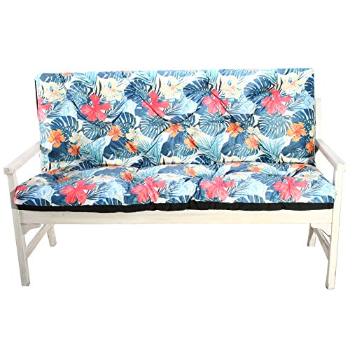 4L Textil Gartenbankauflage Bankauflage Bankkissen Sitzkissen Polsterauflage Sitzpolster Tropischer Print (120x60x50, Blau)