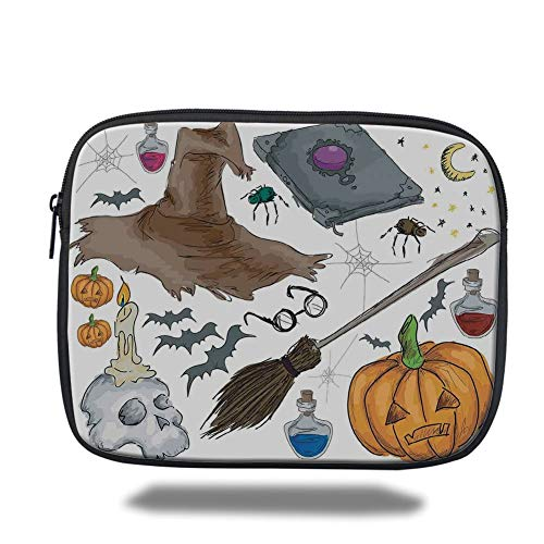 Tablet Bag for Ipad air 2/3/4/mini 9.7 inch,Halloween Decorations,Magic Spells Witch Craft Objects Doodle Style Grunge Design Candle Skull,Multi,Bag