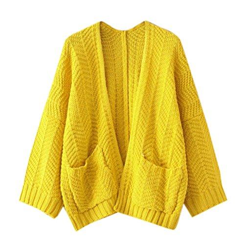 Cappotto donna , feiXIANG Donna maniche lunghe allentato sovradimensionato maglione cardigan cappotto outwear,poliestere,V-collo Giallo