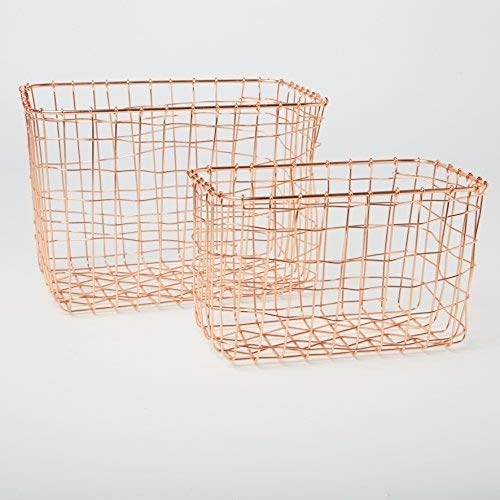 Set von 2Drahtgitter rechteckig Körbe Kupfer