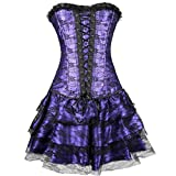 Damen Mini Kleider Spitzen Patchwork Tutu Rock Reizvoller Korsett mit Minirock Retro Party Ballkleid Frauen Tüllrock Tanzkleid(Lila,Medium