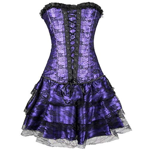 Edle Kostüm Roman - IZHH Damen Minikleider, Burlesque Korsett mit Minirock Mode Spitzenkleidern Kostüm Minirock Roman Kleid Kostüm Party Club Cosplay Kleid(Lila,X-Large)