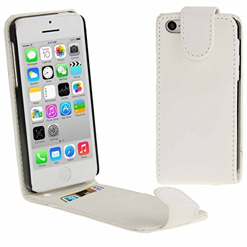 Mxnet Vertikale Flip Leder Tasche mit Kreditkarte Slot für iPhone 5C rutschsicher Telefon-Kasten ( Color : White - 5c Kreditkarten-telefon-kasten Iphone