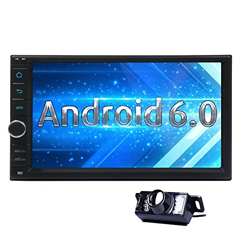 7 inch Android 6.0 Marshmallow Car Stereo 2Din in Dash GPS Navigation Radio Bluetooth Head Unit for Hands Free Calling 64GB USB SD 4G 3G WIFI OBD2 CAM-IN Phone Mirror FM AM RDS Autoradio include Remote Control Car Player