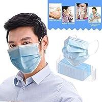Usohiral 10Pcs/Set Face Mask Reusable Masks 3-Layer Non-Woven Mask for Outdoor Sport, Blue