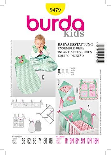 Burda Schnittmuster 9479 Babyausstattung: Nestchen, Utensilo, Schlafsack und Wickeltuch Gr. 56-86