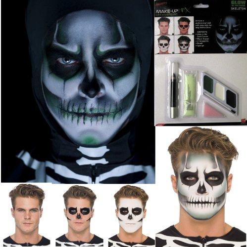 Up Make Skull (Halloween Glühend GID Skelettschädel Gesichtsfarbe Make-Up Kostüm)