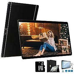 4G Tablette 10 Pouces 64Go,3Go RAM Android 8.1 Tablette Tactile Double Caméra Doule SIM/WiFi/Google Play/Office/Netflix/GPS/OTG/Bluetooth Tablet PC Voukou(Noir)