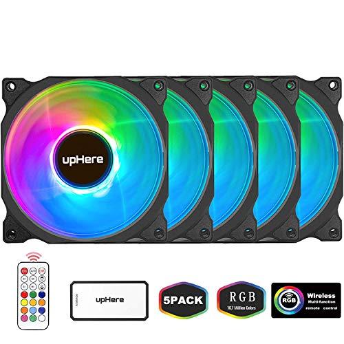 upHere Alto Rendemento RGB LED Ventilador de PC 120mm - Ventilador para Ordenador con Mando a Distancia,Paquete de 5/C8123-5