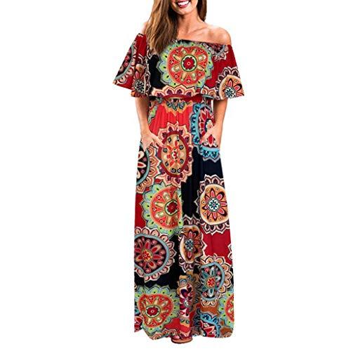 Zegeey Damen Kleid Sommer Kurzarm Schulterfrei Einfarbig Blumenkleid Maxi Kleid A-Linie Kleider Vintage Elegant LäSsige Kleidung Rundhals Basic Casual Strandkleider(X13-Orange,XL)