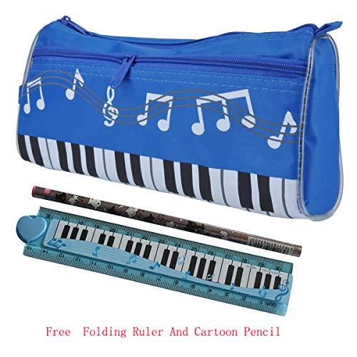 Punk Federmäppchen, wasserdicht, mit Reißverschluss, Musikmotiv Tastatur, in 4 Farben, inklusive Lineal mit Cartoon Musiknoten, Bleistift himmelblau -