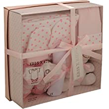 Newborn Baby 7 pcs Gift Set 0 - 3 Months. Available in Blue or Pink (Pink STARS)
