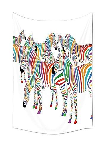 Zebra-print-thema (Funny Decor Kollektion niedlicher bunter Zebra Herde mit Regenbogen Streifen Figur Digital Art Print modernes Safari Thema Schlafzimmer Wohnzimmer Wohnheim Wand Tapisserie Multi, mehrfarbig, 59W By 90.5L Inch)