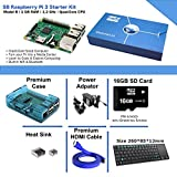 Maker-Sphere Raspberry Pi 3 Modell B Quad Core Komplettes Starter Kit mit Deutsch-Layout Mini Wireless Keyboard (Raspberry Pi B + 16 GB SD-Karte + Case + Stromversorgung + HDMI-Kabel + 3 Stück Heatsink) (Blue)
