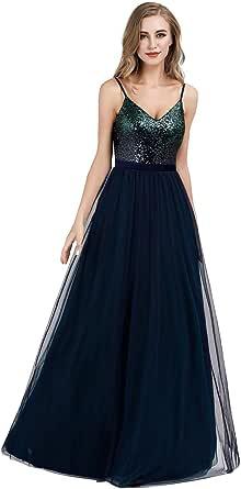 Ever-Pretty Vestito da Cerimonia Donna Sirena Paillettes Scollo a V Petto Basso Senza Maniche Stile Impero Lungo 07339
