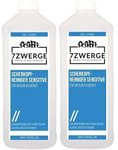 7Zwerge Scherkopfreiniger Sensitiv Reinigungsflüssigkeit für Braun Elektro Rasierer - Nachfüllflüssigkeit (2 x 1000 ml)