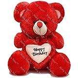 Rushi Enterprise 2 Feet Birthday Heart Stuffed Soft Teddy Bear - Red
