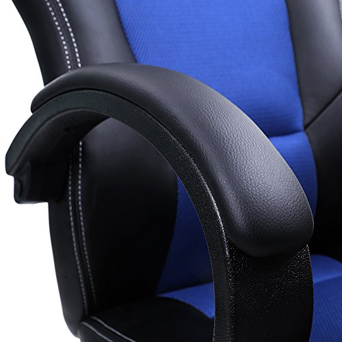 Songmics Racing Sport Office Chair with Tilt Function Computer Desk Swivel Chair PU Black + Blue OBG56L