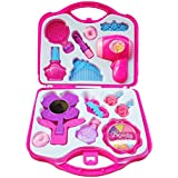 A N Enterprise Pretend Makeup for Girls, Beauty Hair Salon Barber Kit Toy Set for Kids Toddlers Pretend Play - Pink