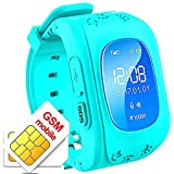 Smartwatch enfant TKSTAR GPS Smart bracelet enfant Anti-perdu SOS Call GPS Tracker enfant Suivi en temps réel kids finder localisateur enfant Moniteur à distance Step Counter Contrôle parental par iphone ios et Android Samsung Wiko Huawei Xiaomi Sony HTC Q50(bleu)