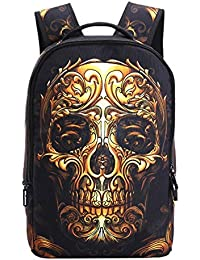 CTQE 3D Skull Laptop Backpack para Hombres Punk Rock Printing School Backpack Mochila Escolar Informal para