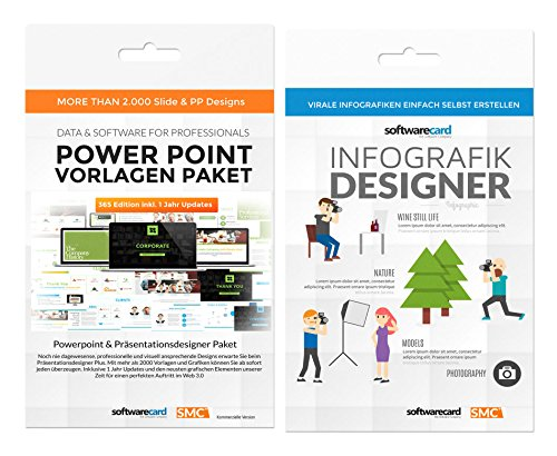 Power Point Präsentation-Designer PRO. 3 Exklusive Power Point Vorlagen mit mehr als 2000 Slides + Infografik Designer für Virale Kampagnen. Top Bundle von Softwarecard. (Speaker Bundle)