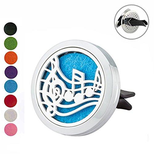 JOYMIAO-Note-Musicali-String-Presa-daria-Clip-Olio-Essenziale-Diffusore-Deodorante-per-auto-Aromaterapia-Locket-Ciondolo-in-acciaio-inox-con-8-pezzi-Riutilizzabile-Felt-Pad